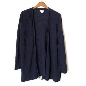 Charter Club open knit cardigan sweater Sz L navy